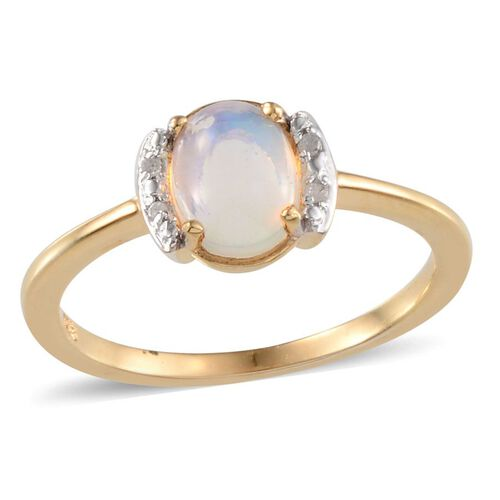 Ethiopian Welo Opal (Ovl 0.75 Ct), Diamond Ring in 14K Gold Overlay Sterling Silver 0.770 Ct.