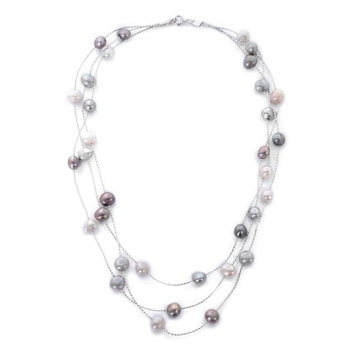 Fresh Water White and Silver Grey Pearl Necklace (Size 18) in Rhodium Plated Sterling Silver 235.000 Ct.