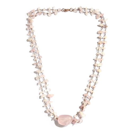 Two Row Rose Quartz Necklace (Size 18) in Rose Gold Tone