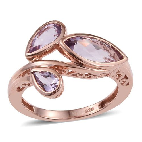 Rose De France Amethyst (Mrq 1.50 Ct) Ring in Rose Gold Overlay Sterling Silver 2.500 Ct.
