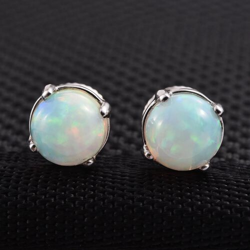 RHAPSODY 950 Platinum Ethiopian Welo Opal (Rnd) Stud Earrings (with Screw Back) 1.400 Ct.