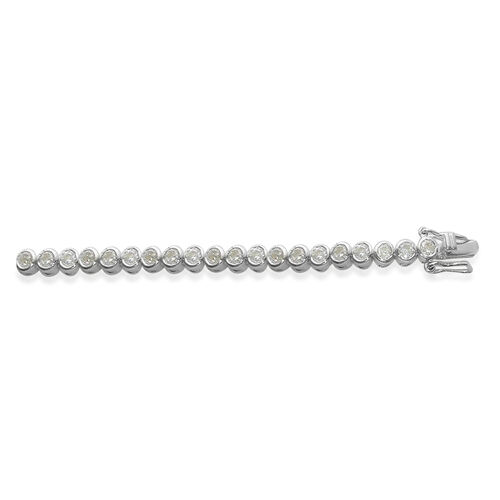 ELANZA AAA Simulated Diamond (Rnd) Bracelet in Rhodium Plated Sterling Silver (Size 7.5) (Sterling Silver Wt 7.5 grams)