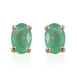 14K Yellow Gold 0.90 Carat Boyaca Colombian Emerald Oval Solitaire Stud Earrings.