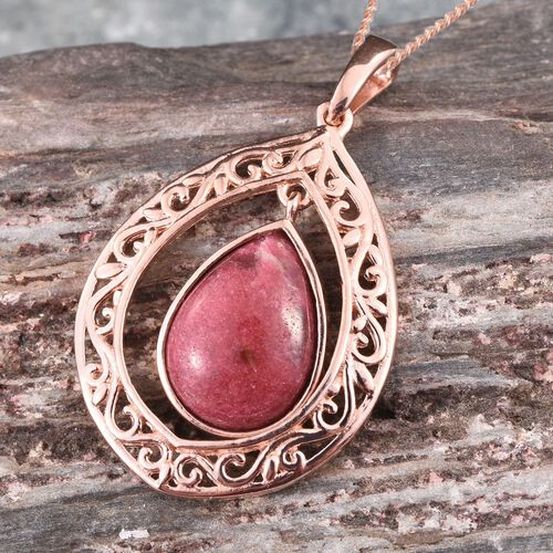 Norwegian Thulite (Pear) Solitaire Pendant With Chain in Rose Gold Overlay Sterling Silver 6.000 Ct.
