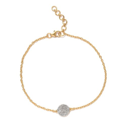 Diamond Pave 0.25 Ct Silver Mini Disc Charm Bracelet in Gold Overlay (Size 7.5)