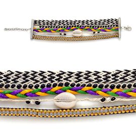 Cowry Shell Black and White Hipanema Style Bracelet in Silver Tone