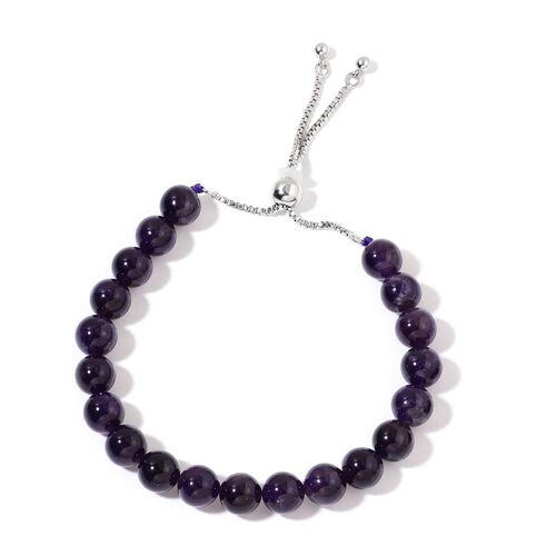 Round Amethyst Adjustable Bracelet (Size 7-11) and Hook Earrings in Silver Tone with Stainless Steel 150.000 Ct.