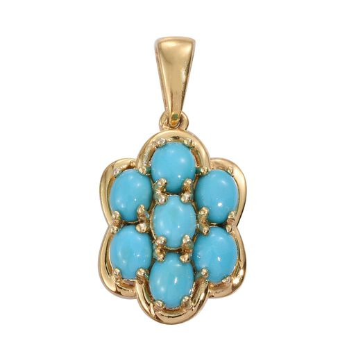 Arizona Sleeping Beauty Turquoise (Ovl) 7 Stone Floral Pendant in 14K Gold Overlay Sterling Silver 2.500 Ct.