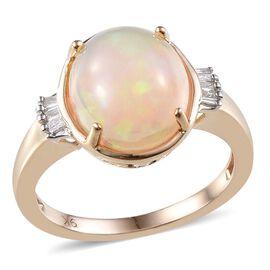 9K Y Gold Ethiopian Welo Opal (Ovl 3.35 Ct), Diamond Ring 3.400 Ct.