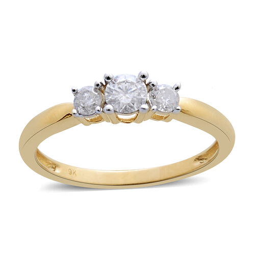 9K Y Gold SGL Certified Diamond (Rnd 0.25 Ct) (I3/ G-H) 3 Stone Ring 0.500 Ct.