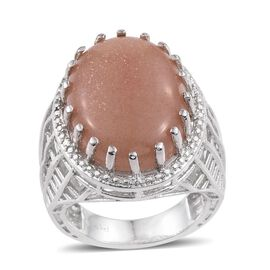 Morogoro Peach Sun Stone (Ovl) Ring in ION Plated Platinum Bond 16.000 Ct.