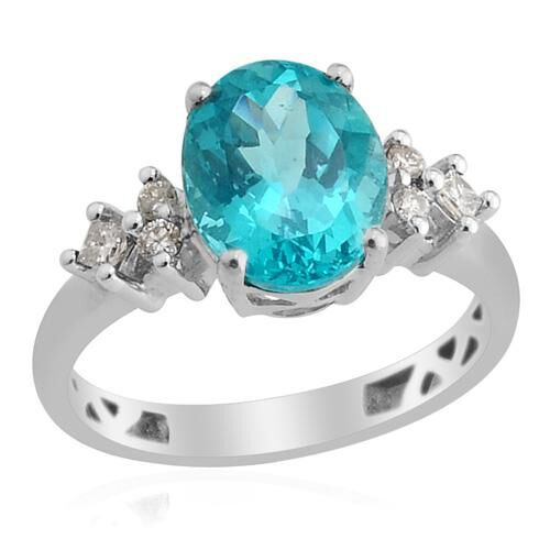 14K W Gold Paraibe Apatite (Ovl 2.65 Ct), Diamond Ring 2.820 Ct.