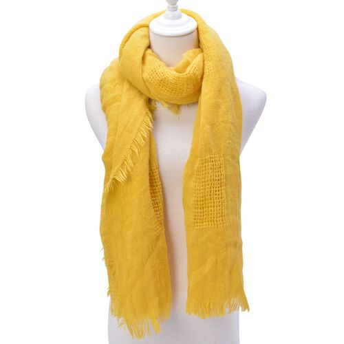 Weave Pattern Yellow Colour Scarf with Fringes (Size 210x70 Cm)
