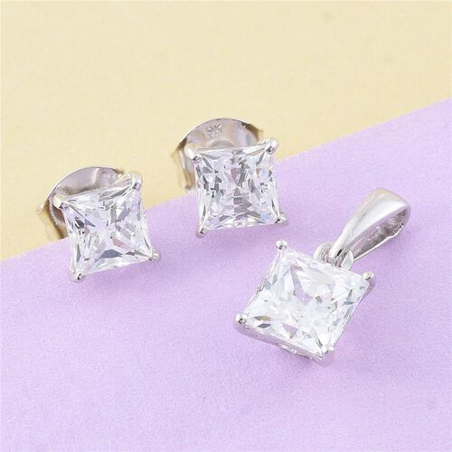 9K W Gold (Princess Cut) Solitaire Pendant and Stud Earrings (with Push Back) Made with SWAROVSKI ZIRCONIA