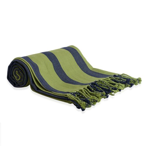 100% Cotton Green and Blue Colour Stripe Pattern Plaid with Fringes (Size 240x150 Cm)