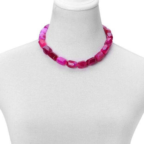 Fuchsia Agate Necklace (Size 18 with 2 inch Extender) in Rhodium Plated Sterling Silver 650.000 Ct.