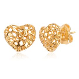 RACHEL GALLEY Yellow Gold Overlay Sterling Silver Amore Heart Stud Earrings (with Push Back), Silver wt 3.10 Gms.