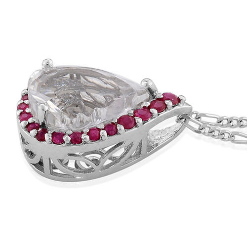 Platinum Overlay Sterling Silver White Quartz,Ruby Pendant With Chain  4.750  Ct.