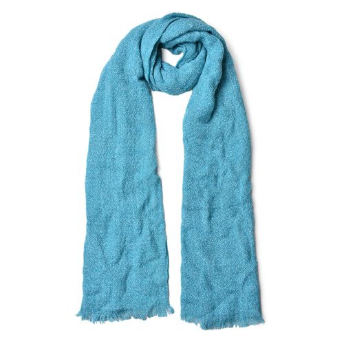 Blue Colour Knitted Scarf with Fringes (Size 180X50 Cm)