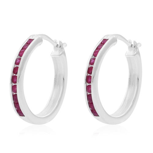 Burmese Ruby (Rnd) Earrings (with Clasp) in Rhodium Plated Sterling Silver 1.000 Ct.
