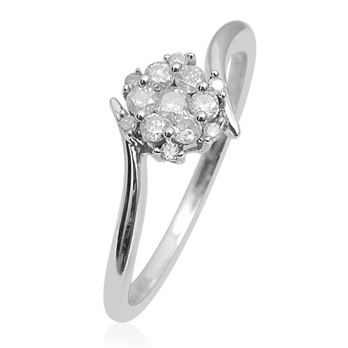 9K White Gold SGL Certified Diamond (Rnd) (I3/G-H) Floral Ring 0.330 Ct.