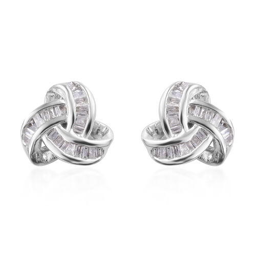 DOD - Diamond (Bgt) Triple Knot Stud Earrings (with Push Back) in Platinum Overlay Sterling Silver 0.250 Ct.