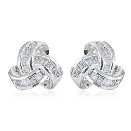 Diamond (Bgt) Triple Knot Stud Earrings (with Push Back) in Platinum Overlay Sterling Silver 0.250 Ct.
