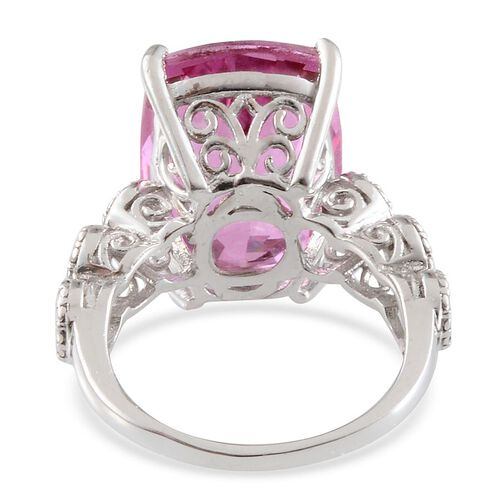 Kunzite Colour Quartz (Cush), Diamond Ring in Platinum Overlay Sterling Silver 14.020 Ct.