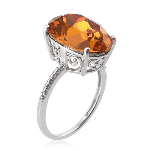 J Francis Crystal from Swarovski - Topaz Colour Crystal (Ovl) Ring in Platinum Overlay Sterling Silver