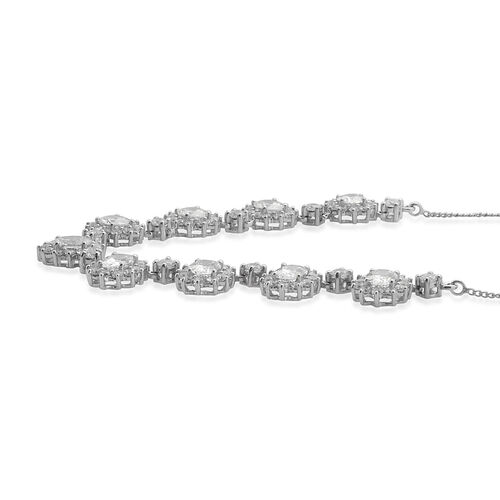 J Francis - Platinum Overlay Sterling Silver (Ovl) Necklace (Size 18) Made with SWAROVSKI ZIRCONIA 16.910 Ct.