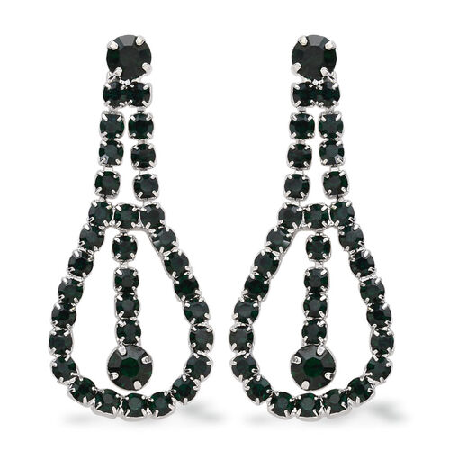 Green Austrian Crystal and Simulated Emerald Necklace (Size 20) and Earrings (with Push Back) in Silver Tone