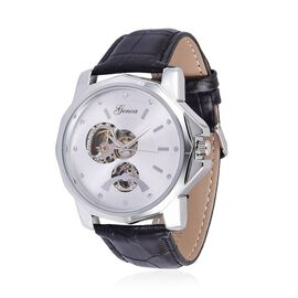 GENOA Automatic Skeleton White Dial Water Resistant Watch in ION Plated Silver with Stainless Steel Back and Black Leather Strap