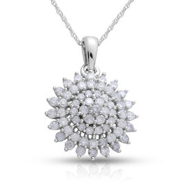 9K White Gold SGL Certified Diamond (Rnd) (I3/ G-H) Cluster Pendant With Chain 1.000 Ct.