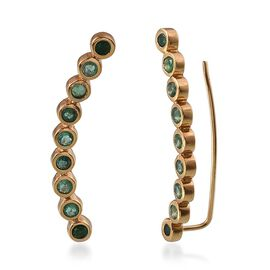 Kagem Zambian Emerald (Rnd) Climber Earrings in 14K Gold Overlay Sterling Silver 1.750 Ct.