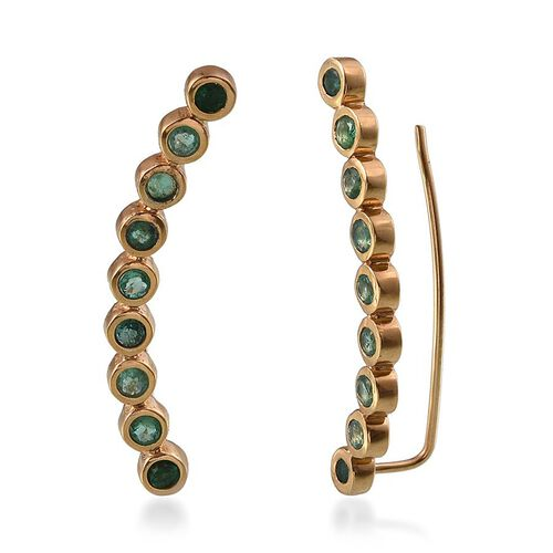 Kagem Zambian Emerald (Rnd) Climber Earrings in 14K Gold Overlay Sterling Silver 1.750 Ct.