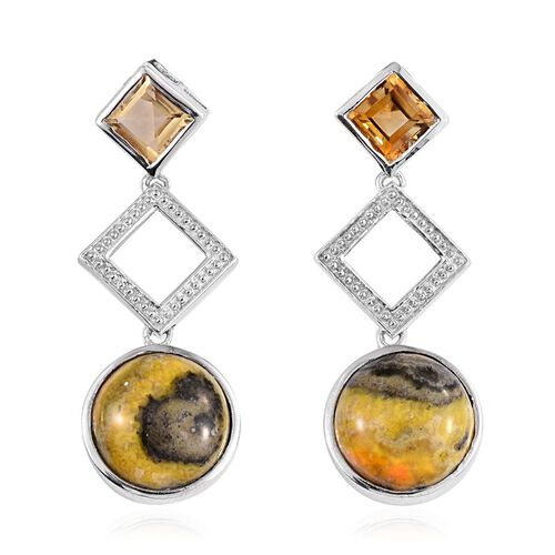Bumble Bee Jasper (Rnd), Citrine Earrings (with Push Back) in Platinum Overlay Sterling Silver 13.750 Ct.