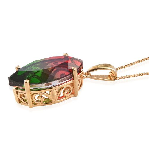 Tourmaline Colour Quartz (Mrq) Solitaire Pendant With Chain in 14K Gold Overlay Sterling Silver 8.750 Ct.