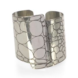 Jewels of India Handicraft Wide Cuff in Silvertone