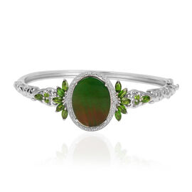 Canadian Ammolite (Ovl 8.25 Ct), Russian Diopside and White Topaz Bangle (Size 7) in Platinum Overlay Sterling Silver 10.680 Ct.