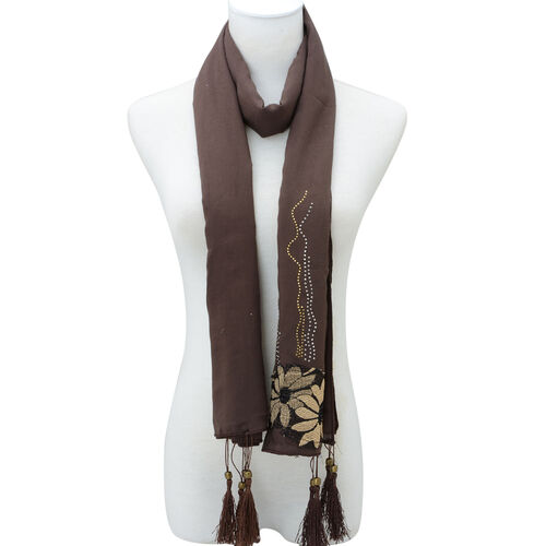 Floral Pattern Brown Colour Scarf with Embellishment (Size 170x60 Cm)