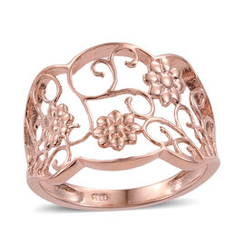 Rose Gold Overlay Sterling Silver Floral Ring, Silver wt 2.85 Gms.