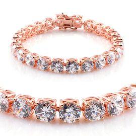 J Francis - Rose Gold Overlay Sterling Silver (Rnd) Bracelet Made with SWAROVSKI ZIRCONIA (Size 8)