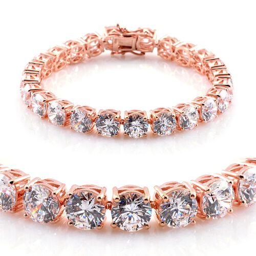 J Francis - Rose Gold Overlay Sterling Silver (Rnd) Bracelet Made with SWAROVSKI ZIRCONIA (Size 8)