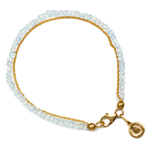 Sky Blue Topaz (Rnd) Dual Strand Horse Shoe Charm Bracelet (Size 7.5) in Yellow Gold Overlay Sterling Silver