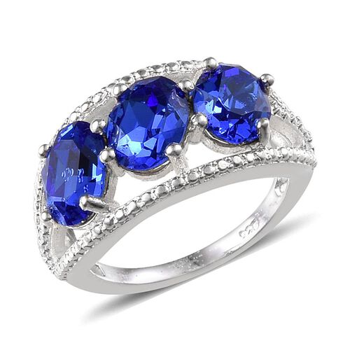 J Francis Crystal from Swarovski - Sapphire Colour Crystal (Ovl) Trilogy Ring in Sterling Silver