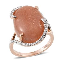 9K Rose Gold Morogoro Peach Sunstone (Ovl), Diamond Ring 12.100 Ct.