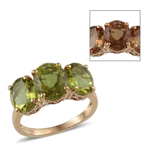 Alexite (Ovl 2.40 Ct) 3 Stone Ring in 14K Gold Overlay Sterling Silver 5.650 Ct.