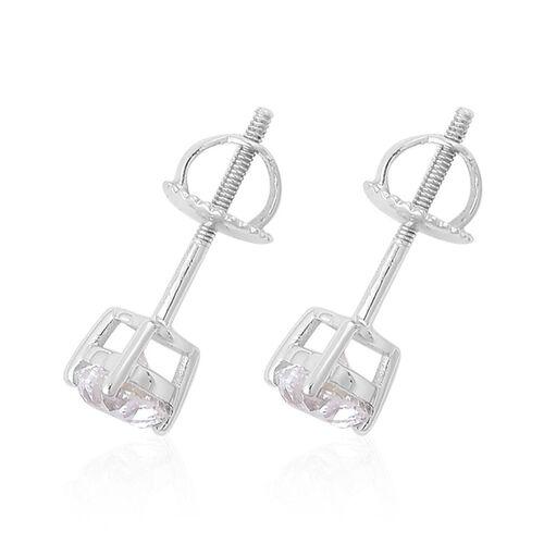 One OFF - ILIANA 18K White Gold GIA Certified 1 Carat Heart Diamond SI G-H Stud Earrings with Screw Back.