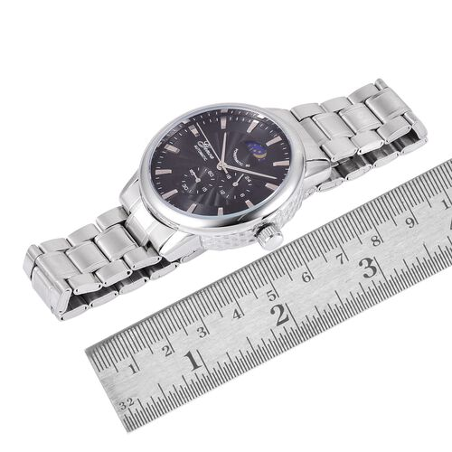 GENOA Chronograph Look Black Dial Water Resistant Watch in Silver Tone with Stainless Steel Back and Chain Strap