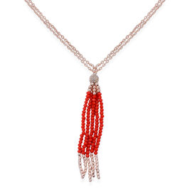 Red Glass and White Austrian Crystal Tassel Necklace (Size 32) in Rose Gold Tone